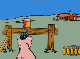 tin can shooting cartoon